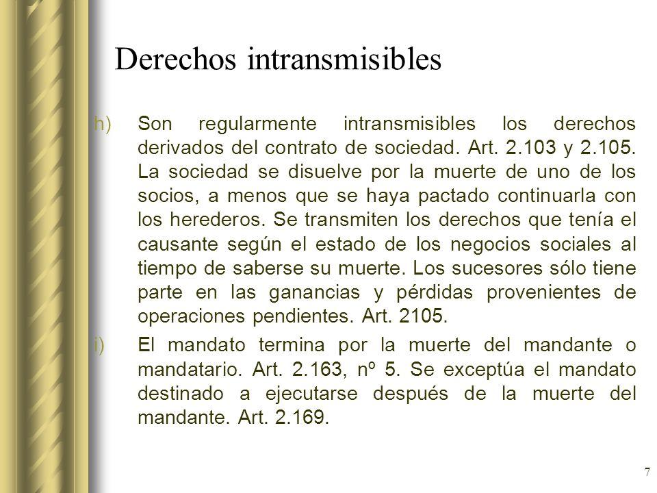 7 Derechos intransmisibles h)Son regularmente intransmisibles los derechos derivados del contrato de sociedad. Art. 2.103 y 2.105. La sociedad se disu