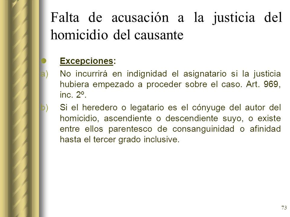 73 Falta de acusación a la justicia del homicidio del causante Excepciones: a)No incurrirá en indignidad el asignatario si la justicia hubiera empezad