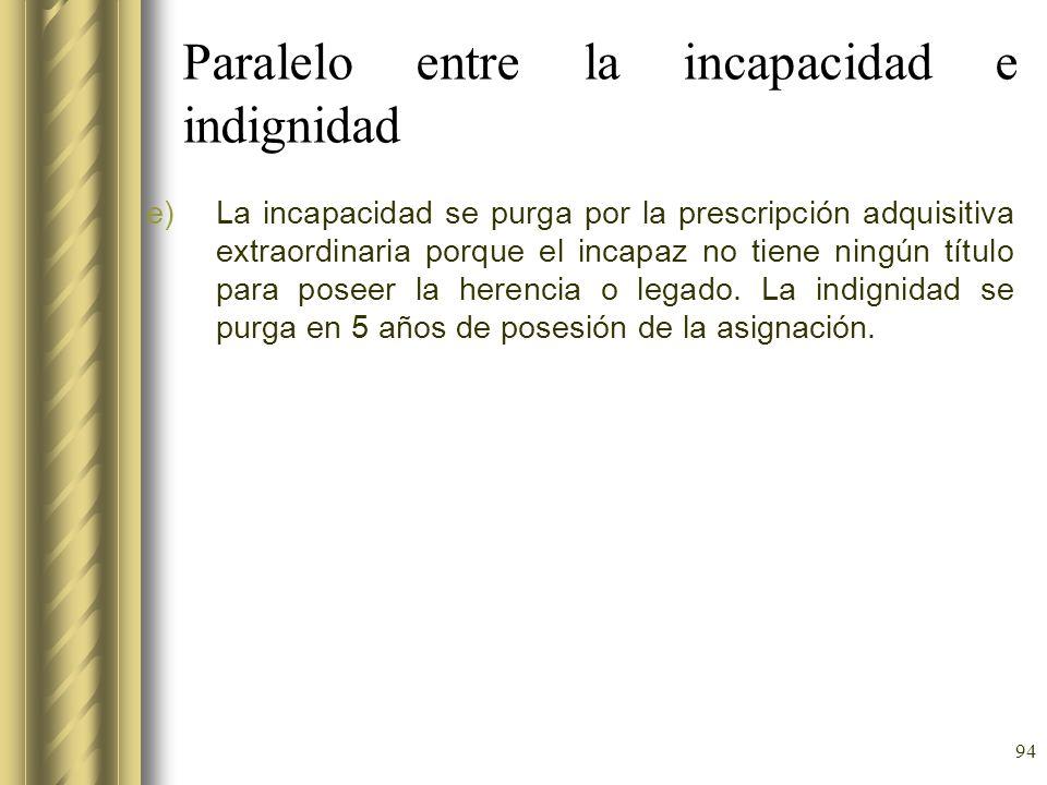 94 Paralelo entre la incapacidad e indignidad e)La incapacidad se purga por la prescripción adquisitiva extraordinaria porque el incapaz no tiene ning