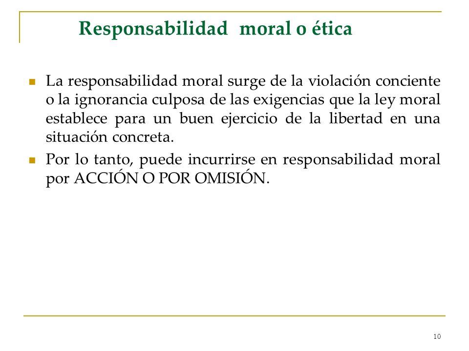 10 Responsabilidad moral o ética La responsabilidad moral surge de la violación conciente o la ignorancia culposa de las exigencias que la ley moral e
