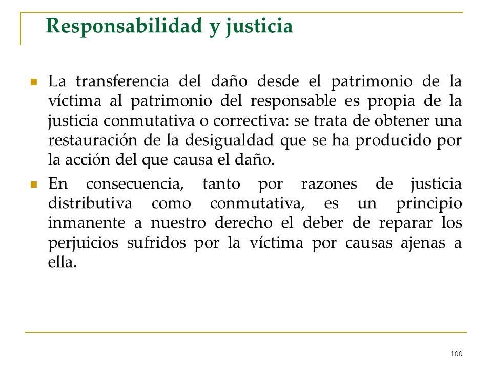 100 Responsabilidad y justicia La transferencia del daño desde el patrimonio de la víctima al patrimonio del responsable es propia de la justicia conm