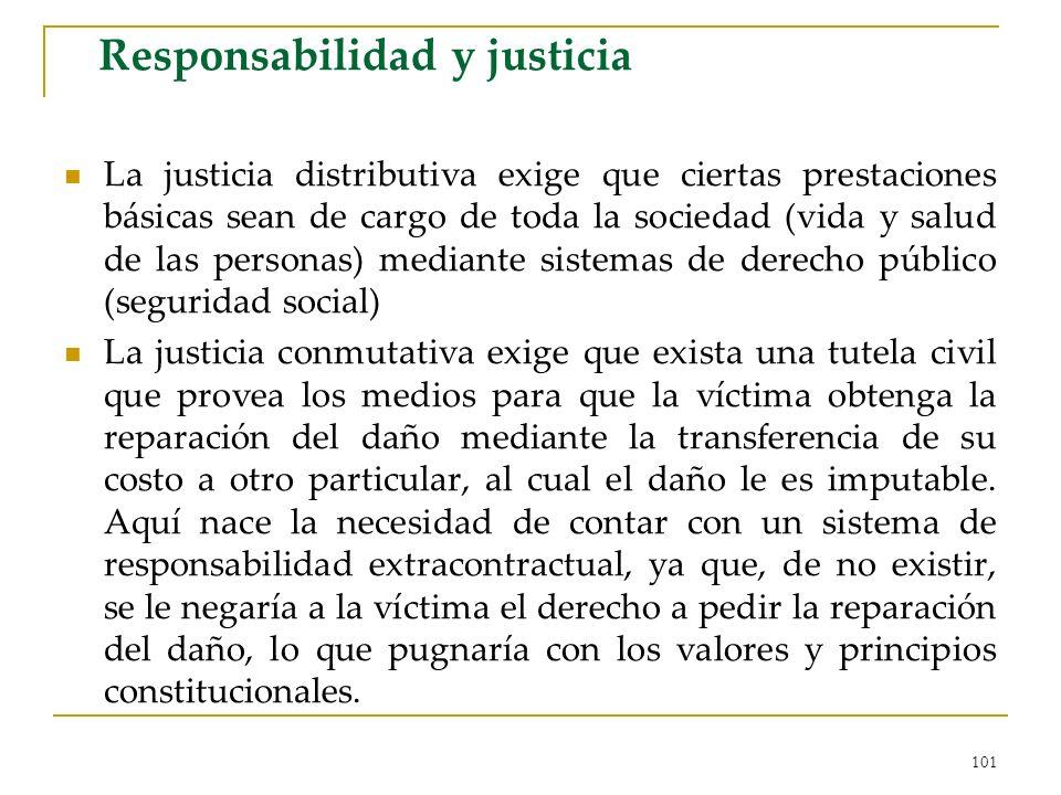 101 Responsabilidad y justicia La justicia distributiva exige que ciertas prestaciones básicas sean de cargo de toda la sociedad (vida y salud de las
