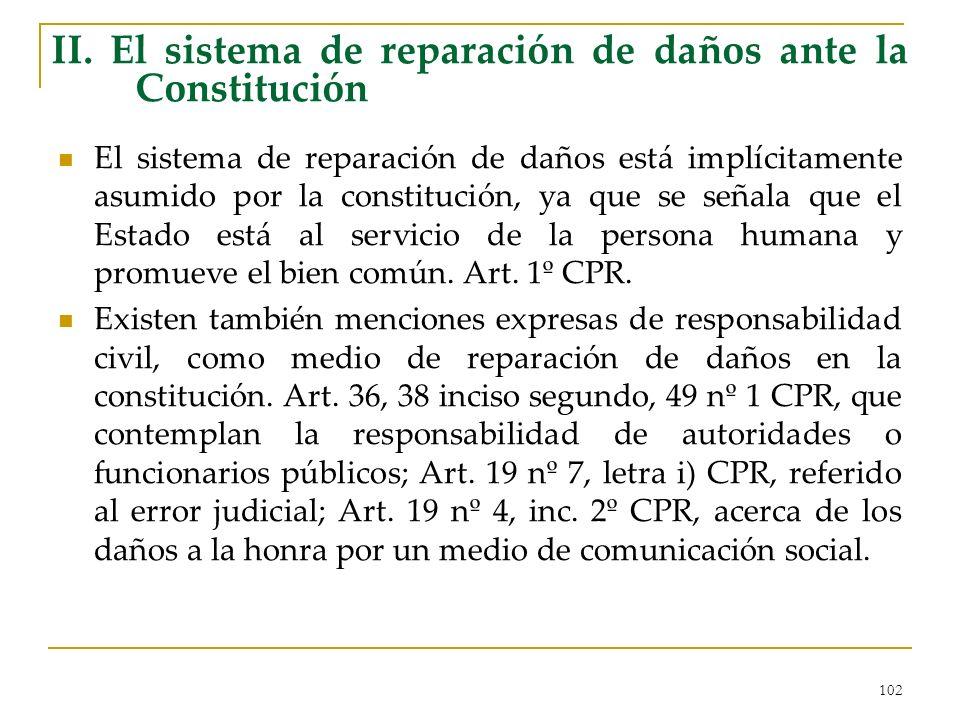 102 II. El sistema de reparación de daños ante la Constitución El sistema de reparación de daños está implícitamente asumido por la constitución, ya q