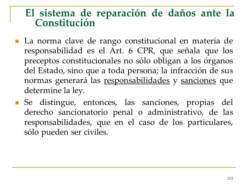 103 El sistema de reparación de daños ante la Constitución La norma clave de rango constitucional en materia de responsabilidad es el Art. 6 CPR, que