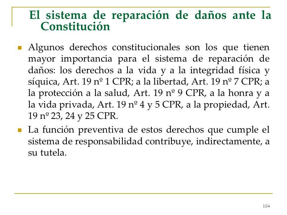 104 El sistema de reparación de daños ante la Constitución Algunos derechos constitucionales son los que tienen mayor importancia para el sistema de reparación de daños: los derechos a la vida y a la integridad física y síquica, Art.
