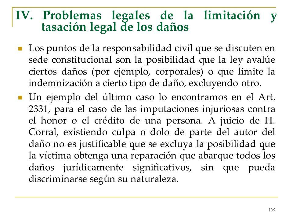 109 IV. Problemas legales de la limitación y tasación legal de los daños Los puntos de la responsabilidad civil que se discuten en sede constitucional