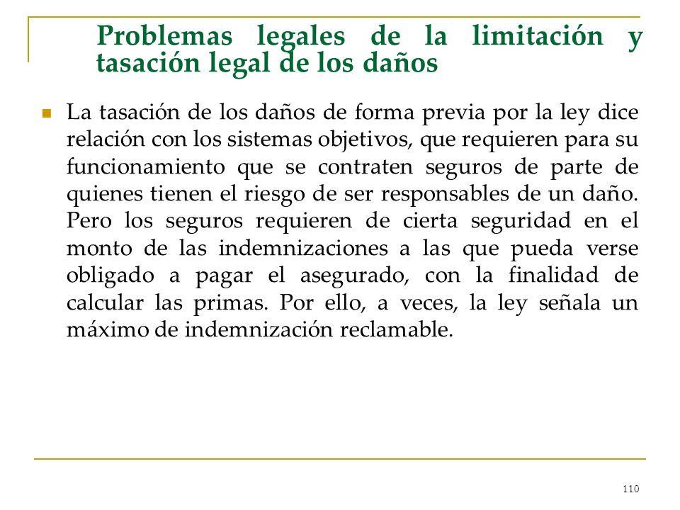 110 Problemas legales de la limitación y tasación legal de los daños La tasación de los daños de forma previa por la ley dice relación con los sistema