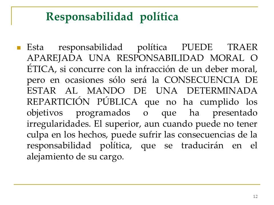 12 Responsabilidad política Esta responsabilidad política PUEDE TRAER APAREJADA UNA RESPONSABILIDAD MORAL O ÉTICA, si concurre con la infracción de un