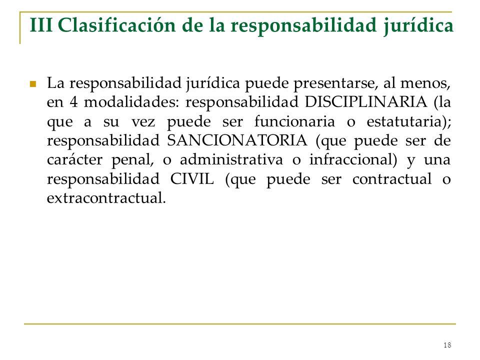 18 III Clasificación de la responsabilidad jurídica La responsabilidad jurídica puede presentarse, al menos, en 4 modalidades: responsabilidad DISCIPL
