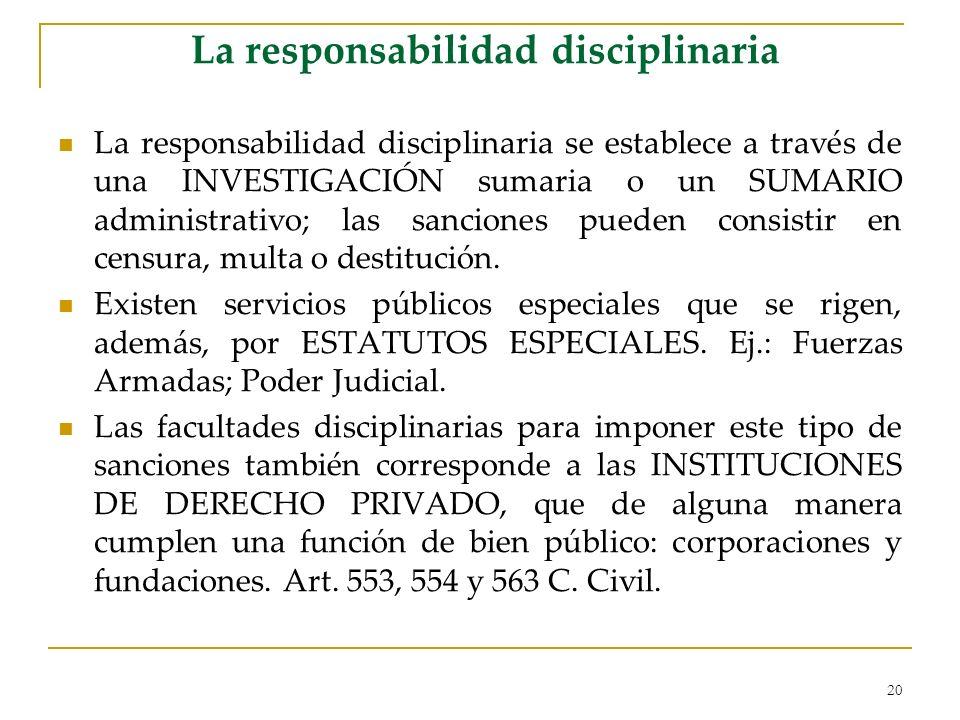 20 La responsabilidad disciplinaria La responsabilidad disciplinaria se establece a través de una INVESTIGACIÓN sumaria o un SUMARIO administrativo; las sanciones pueden consistir en censura, multa o destitución.