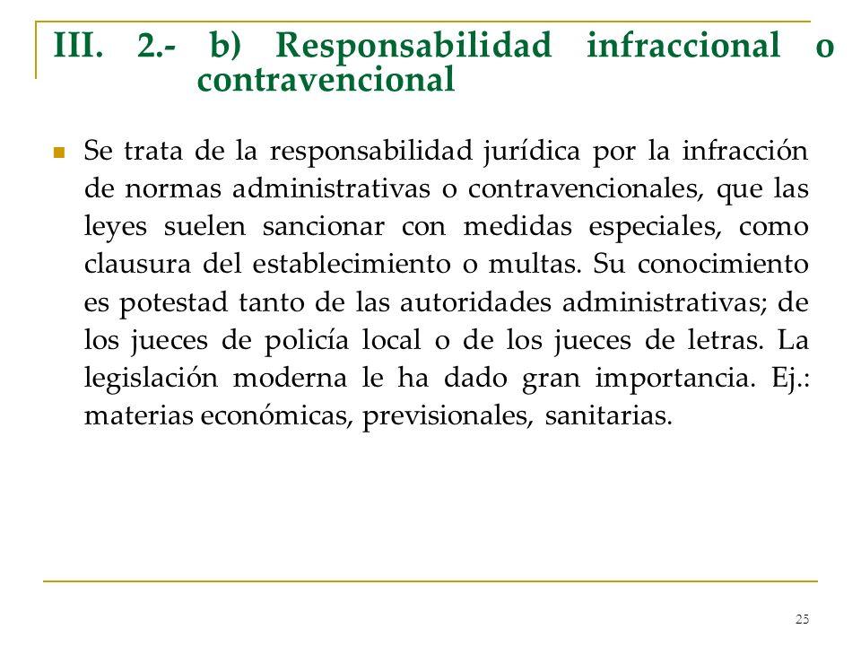 25 III. 2.- b) Responsabilidad infraccional o contravencional Se trata de la responsabilidad jurídica por la infracción de normas administrativas o co