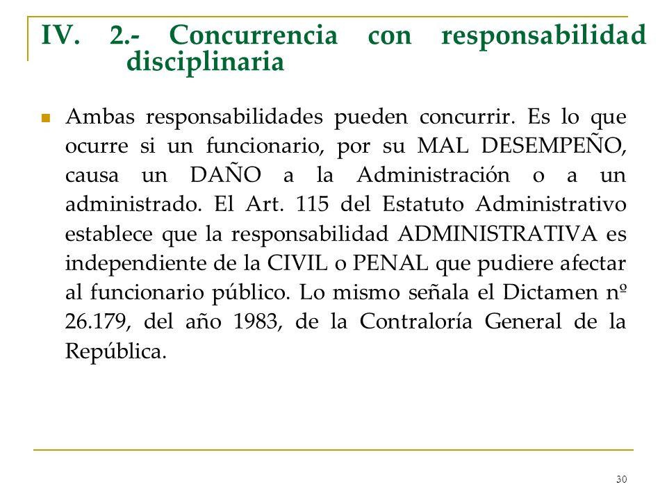 30 IV. 2.- Concurrencia con responsabilidad disciplinaria Ambas responsabilidades pueden concurrir. Es lo que ocurre si un funcionario, por su MAL DES