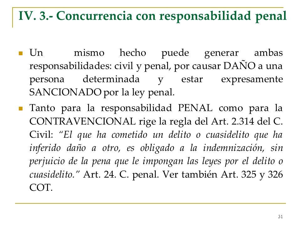 31 IV. 3.- Concurrencia con responsabilidad penal Un mismo hecho puede generar ambas responsabilidades: civil y penal, por causar DAÑO a una persona d