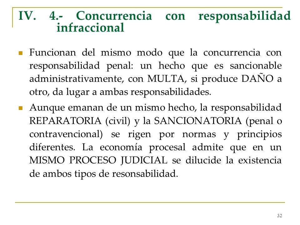 32 IV. 4.- Concurrencia con responsabilidad infraccional Funcionan del mismo modo que la concurrencia con responsabilidad penal: un hecho que es sanci