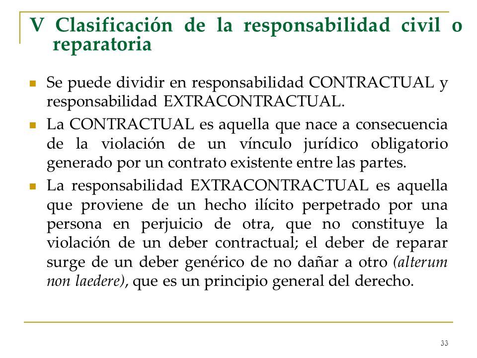 33 V Clasificación de la responsabilidad civil o reparatoria Se puede dividir en responsabilidad CONTRACTUAL y responsabilidad EXTRACONTRACTUAL. La CO