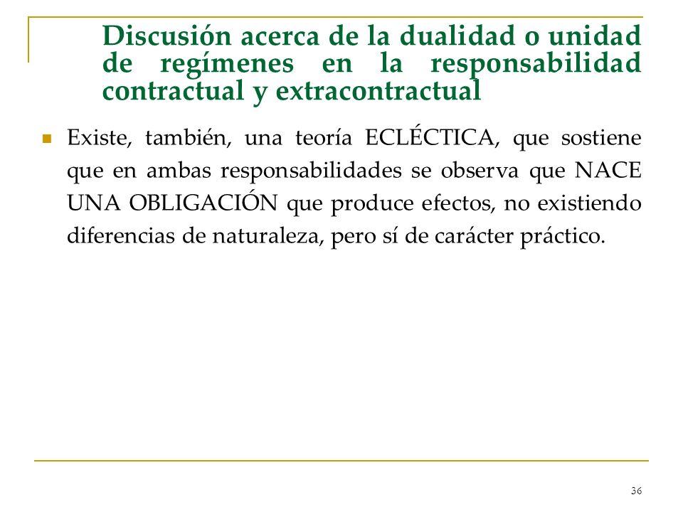 36 Discusión acerca de la dualidad o unidad de regímenes en la responsabilidad contractual y extracontractual Existe, también, una teoría ECLÉCTICA, q