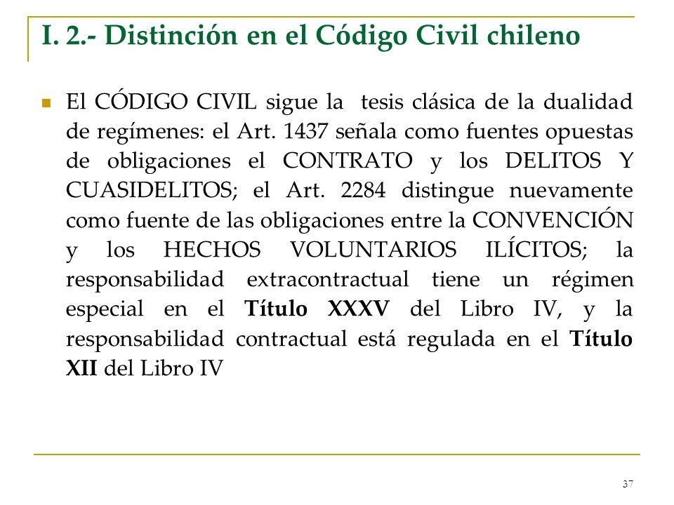 37 I. 2.- Distinción en el Código Civil chileno El CÓDIGO CIVIL sigue la tesis clásica de la dualidad de regímenes: el Art. 1437 señala como fuentes o
