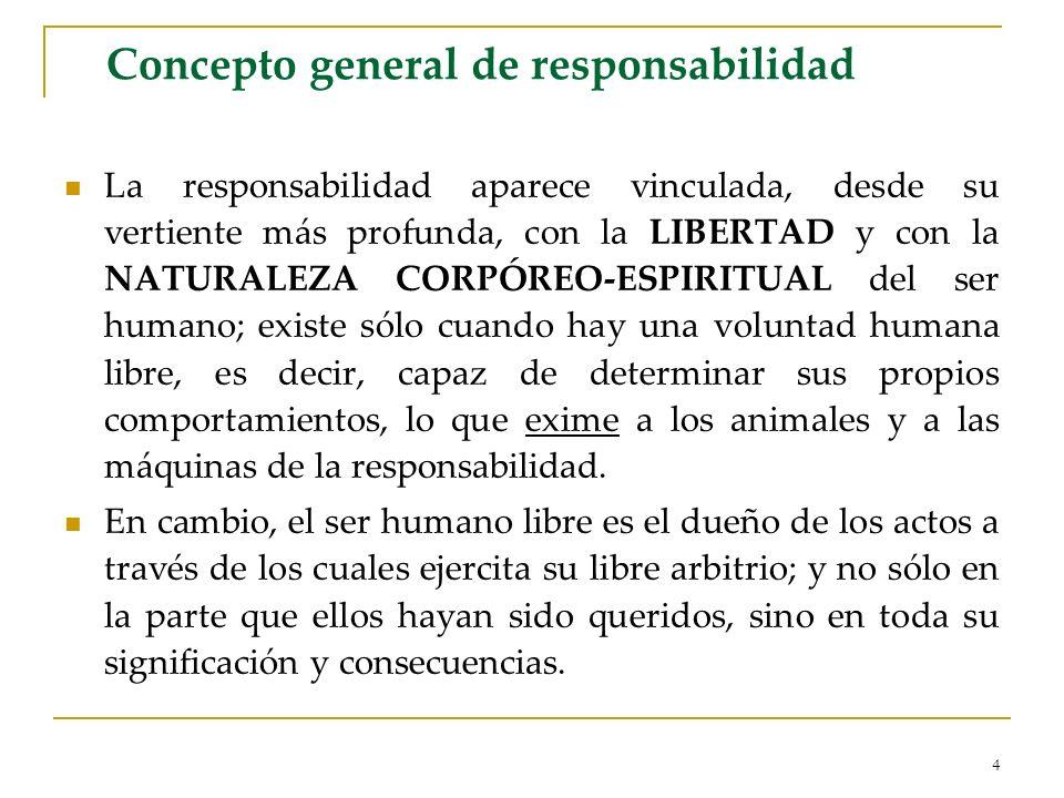 4 Concepto general de responsabilidad La responsabilidad aparece vinculada, desde su vertiente más profunda, con la LIBERTAD y con la NATURALEZA CORPÓ