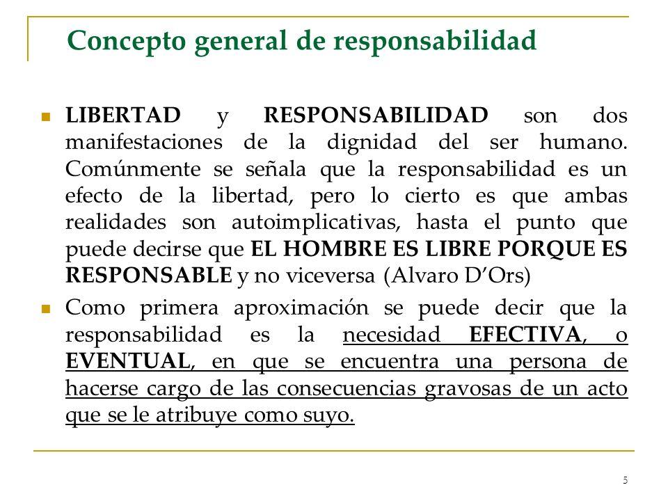 5 Concepto general de responsabilidad LIBERTAD y RESPONSABILIDAD son dos manifestaciones de la dignidad del ser humano. Comúnmente se señala que la re