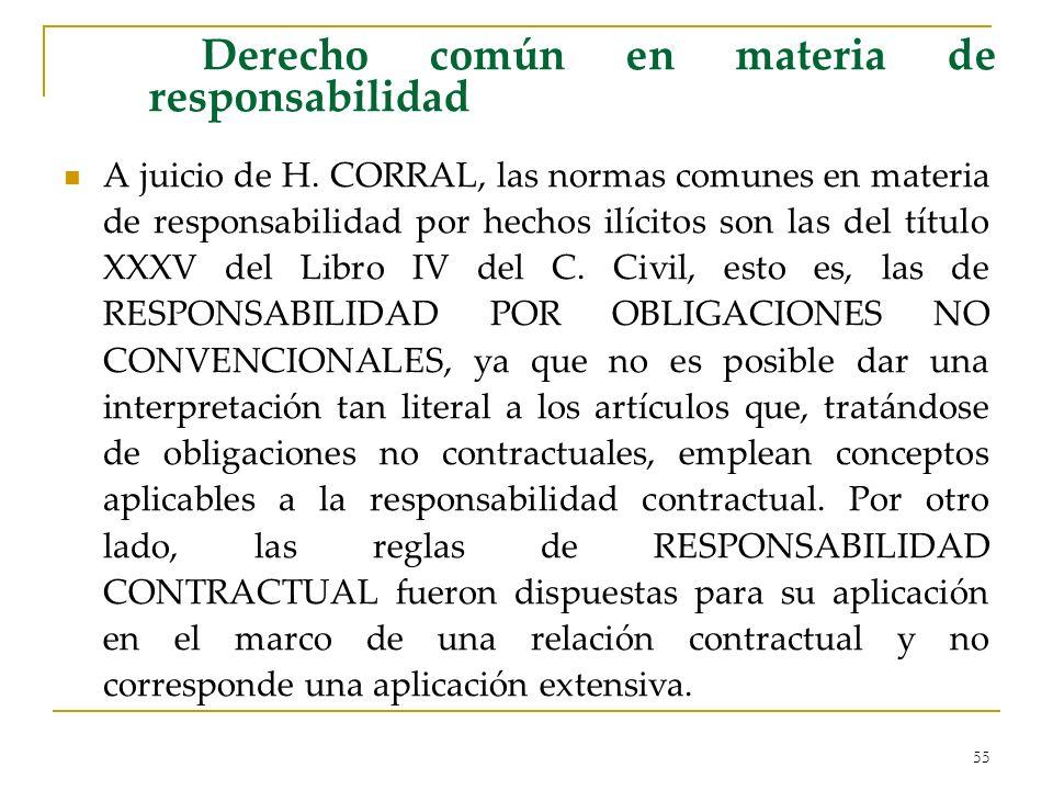 55 Derecho común en materia de responsabilidad A juicio de H. CORRAL, las normas comunes en materia de responsabilidad por hechos ilícitos son las del
