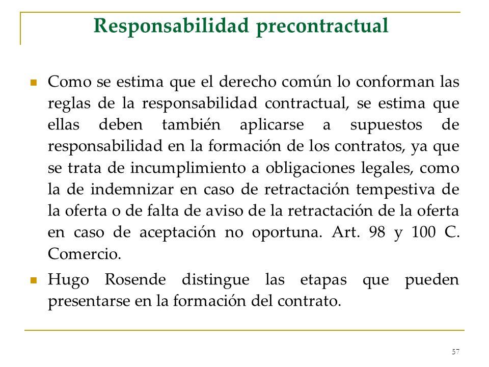 57 Responsabilidad precontractual Como se estima que el derecho común lo conforman las reglas de la responsabilidad contractual, se estima que ellas d