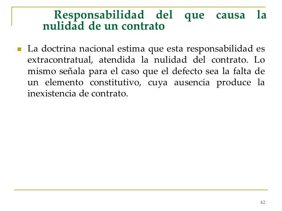 62 Responsabilidad del que causa la nulidad de un contrato La doctrina nacional estima que esta responsabilidad es extracontratual, atendida la nulidad del contrato.