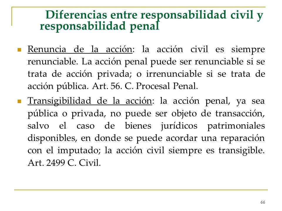 66 Diferencias entre responsabilidad civil y responsabilidad penal Renuncia de la acción: la acción civil es siempre renunciable. La acción penal pued