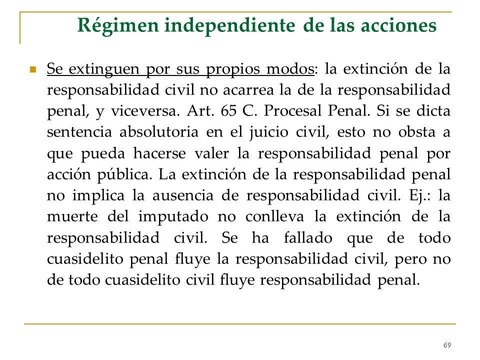 69 Régimen independiente de las acciones Se extinguen por sus propios modos: la extinción de la responsabilidad civil no acarrea la de la responsabilidad penal, y viceversa.