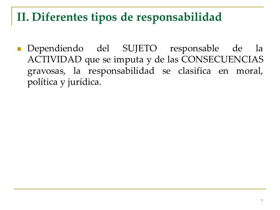 7 II. Diferentes tipos de responsabilidad Dependiendo del SUJETO responsable de la ACTIVIDAD que se imputa y de las CONSECUENCIAS gravosas, la respons