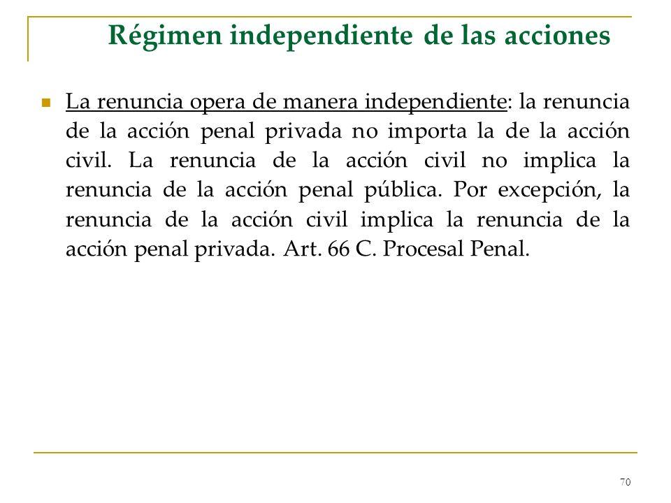 70 Régimen independiente de las acciones La renuncia opera de manera independiente: la renuncia de la acción penal privada no importa la de la acción civil.