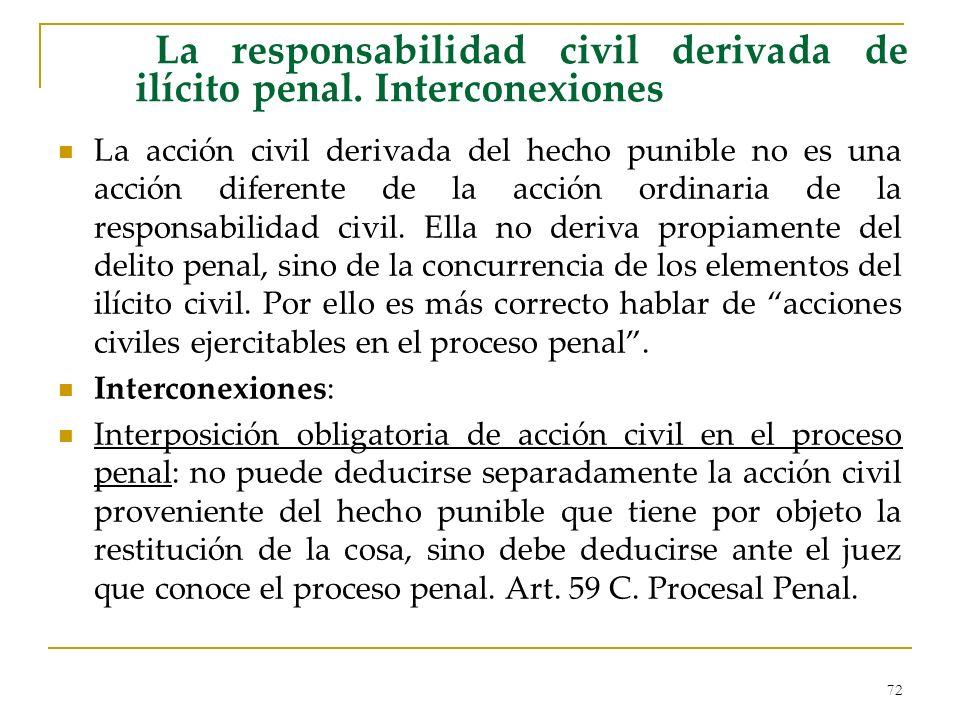 72 La responsabilidad civil derivada de ilícito penal. Interconexiones La acción civil derivada del hecho punible no es una acción diferente de la acc