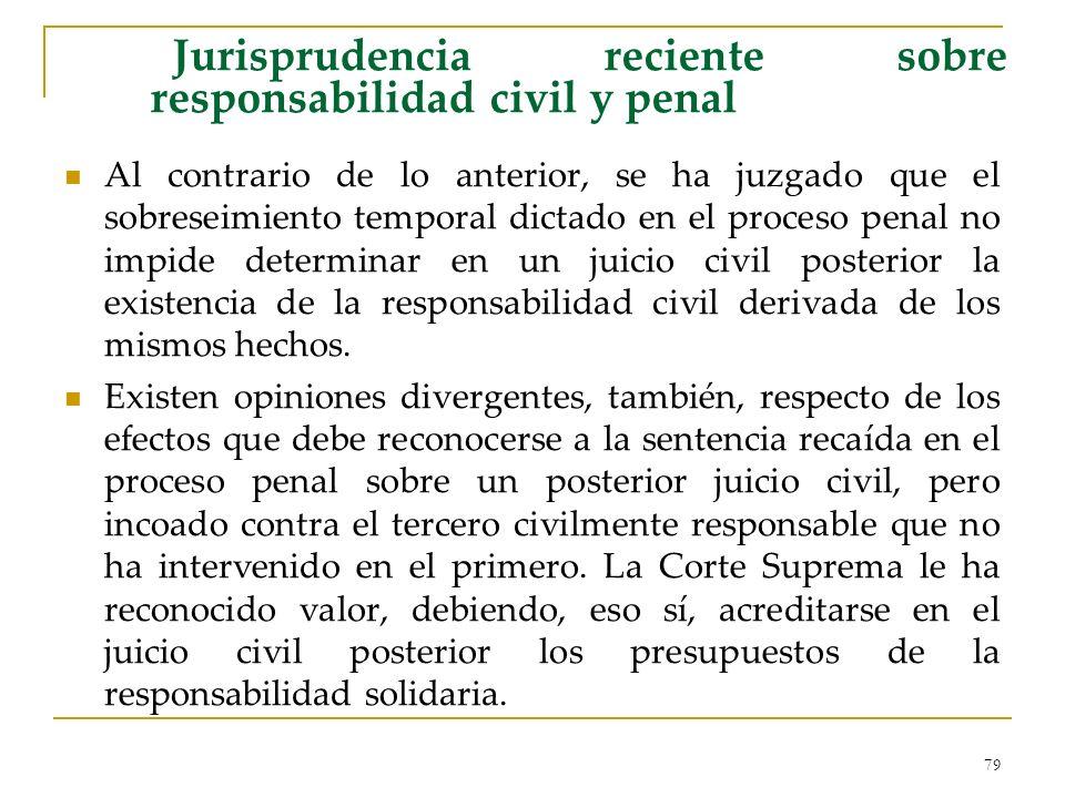 79 Jurisprudencia reciente sobre responsabilidad civil y penal Al contrario de lo anterior, se ha juzgado que el sobreseimiento temporal dictado en el