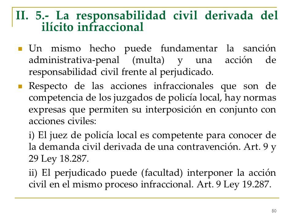 80 II. 5.- La responsabilidad civil derivada del ilícito infraccional Un mismo hecho puede fundamentar la sanción administrativa-penal (multa) y una a