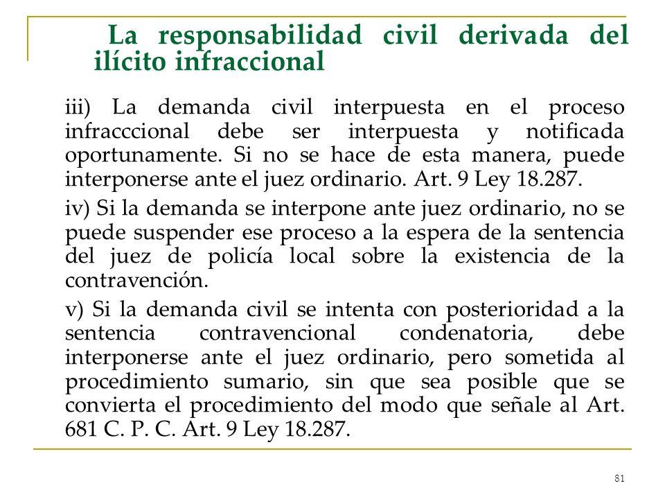 81 La responsabilidad civil derivada del ilícito infraccional iii) La demanda civil interpuesta en el proceso infracccional debe ser interpuesta y not