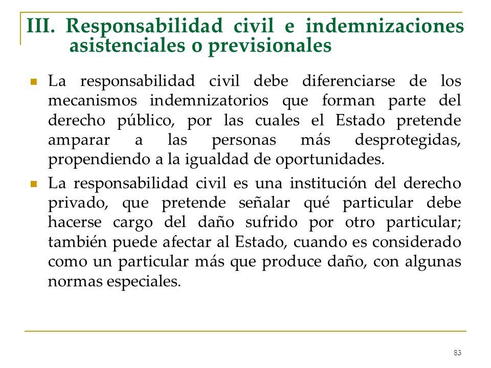 83 III. Responsabilidad civil e indemnizaciones asistenciales o previsionales La responsabilidad civil debe diferenciarse de los mecanismos indemnizat