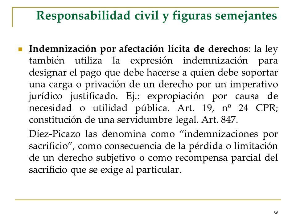 86 Responsabilidad civil y figuras semejantes Indemnización por afectación lícita de derechos: la ley también utiliza la expresión indemnización para
