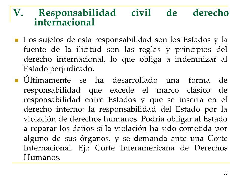 88 V. Responsabilidad civil de derecho internacional Los sujetos de esta responsabilidad son los Estados y la fuente de la ilicitud son las reglas y p