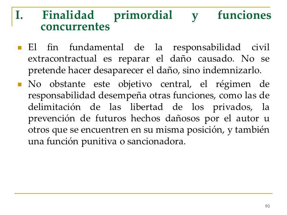 90 I. Finalidad primordial y funciones concurrentes El fin fundamental de la responsabilidad civil extracontractual es reparar el daño causado. No se