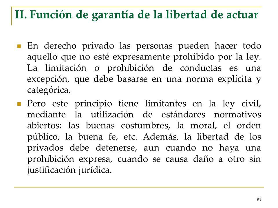 91 II. Función de garantía de la libertad de actuar En derecho privado las personas pueden hacer todo aquello que no esté expresamente prohibido por l