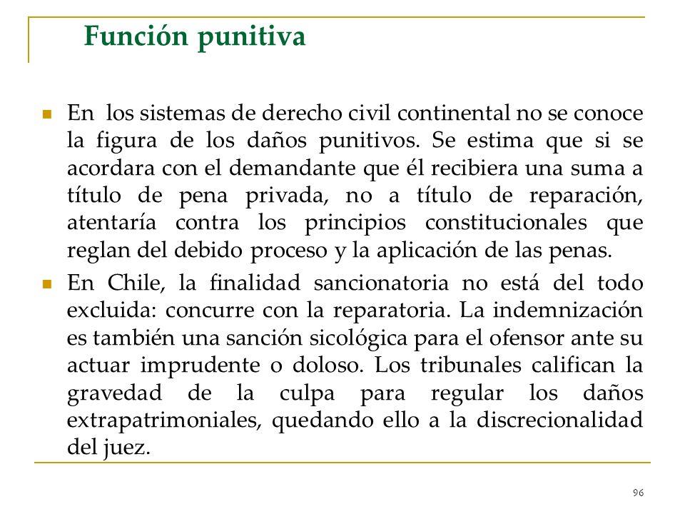 96 Función punitiva En los sistemas de derecho civil continental no se conoce la figura de los daños punitivos. Se estima que si se acordara con el de