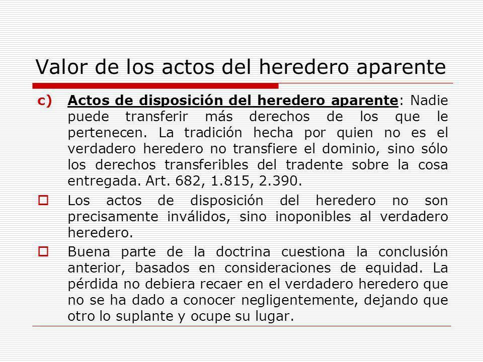 Valor de los actos del heredero aparente c)Actos de disposición del heredero aparente: Nadie puede transferir más derechos de los que le pertenecen. L