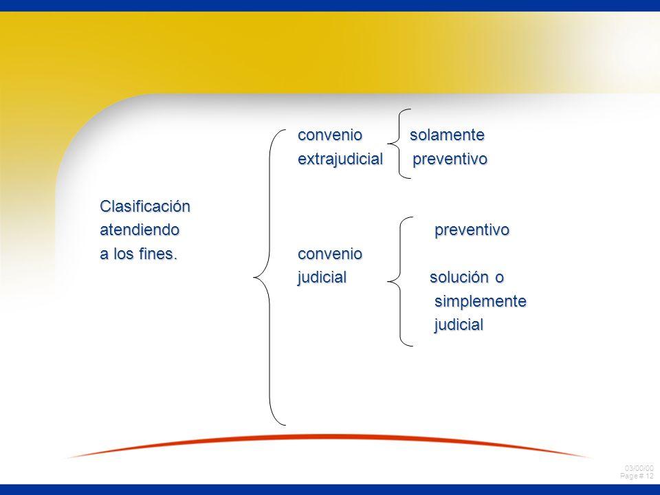 03/00/00 Page # 12 convenio solamente convenio solamente extrajudicial preventivo extrajudicial preventivoClasificación atendiendo preventivo a los fi