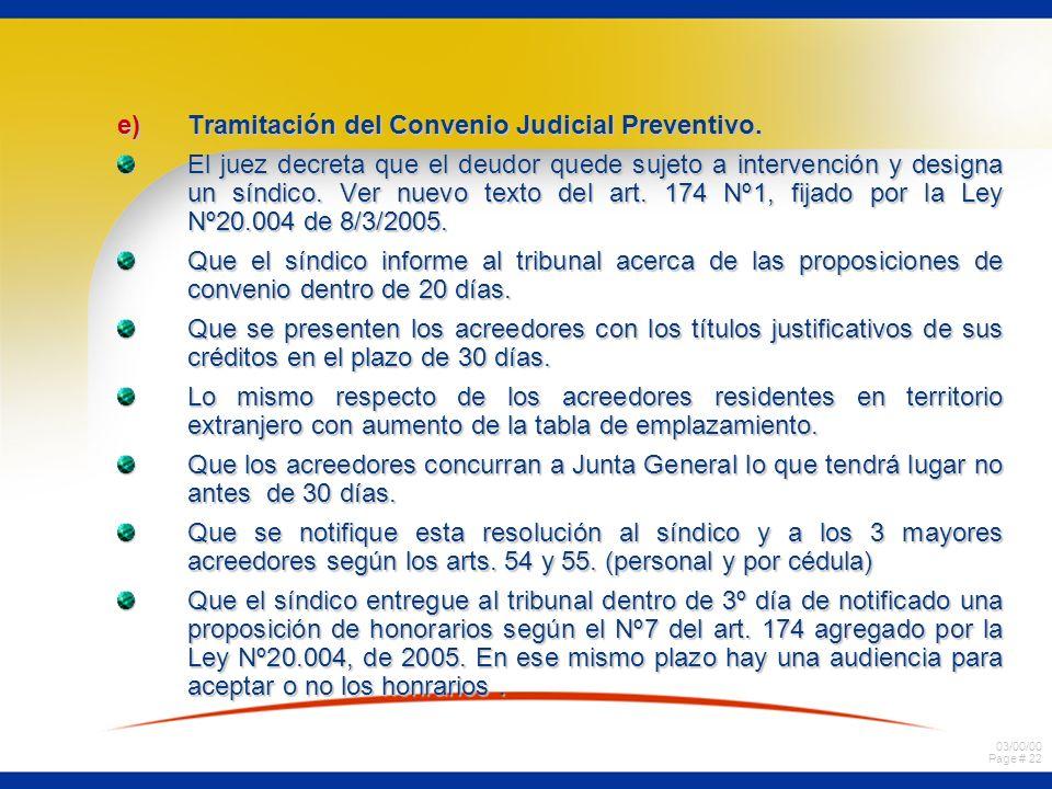 03/00/00 Page # 22 e)Tramitación del Convenio Judicial Preventivo. El juez decreta que el deudor quede sujeto a intervención y designa un síndico. Ver