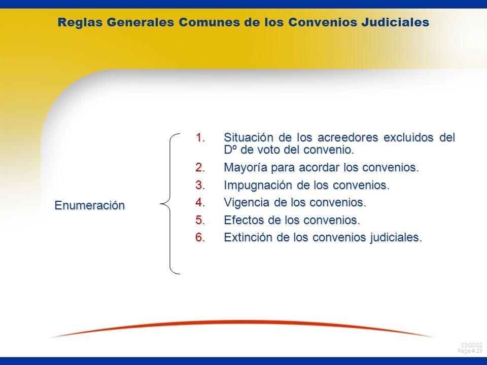 03/00/00 Page # 29 Reglas Generales Comunes de los Convenios Judiciales Enumeración 1.Situación de los acreedores excluidos del Dº de voto del conveni