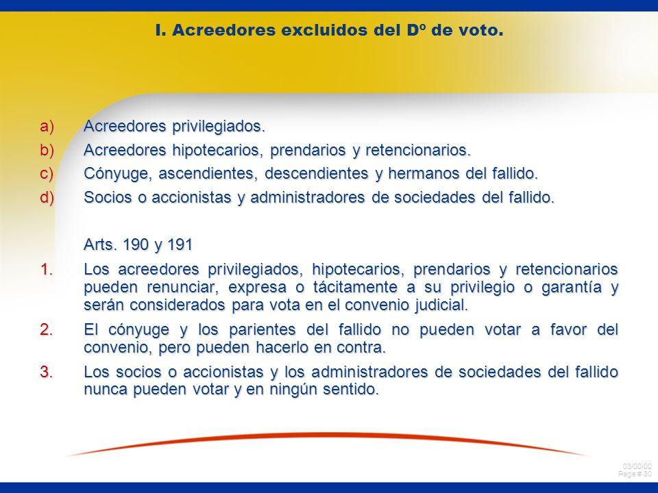 03/00/00 Page # 30 I. Acreedores excluidos del Dº de voto. a)Acreedores privilegiados. b)Acreedores hipotecarios, prendarios y retencionarios. c)Cónyu