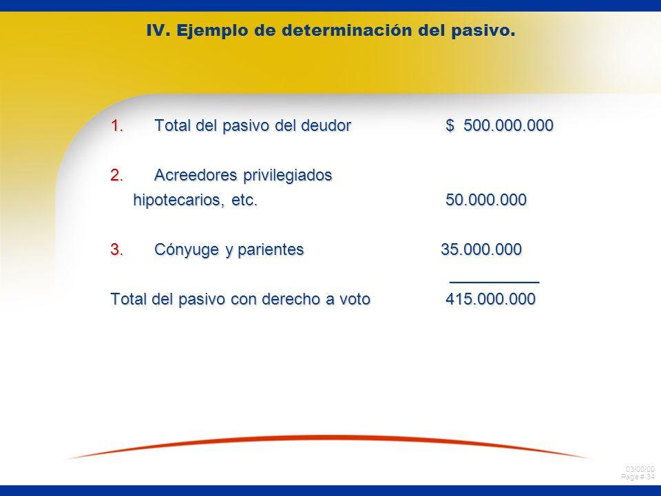 03/00/00 Page # 34 IV. Ejemplo de determinación del pasivo. 1.Total del pasivo del deudor $ 500.000.000 2.Acreedores privilegiados hipotecarios, etc.