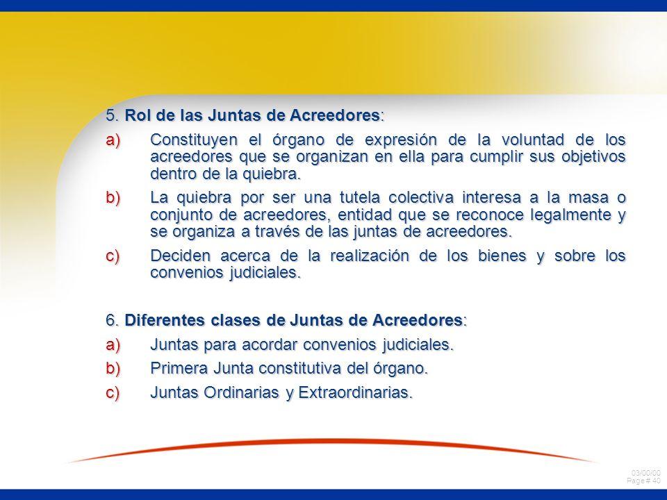 03/00/00 Page # 40 5. Rol de las Juntas de Acreedores: a)Constituyen el órgano de expresión de la voluntad de los acreedores que se organizan en ella