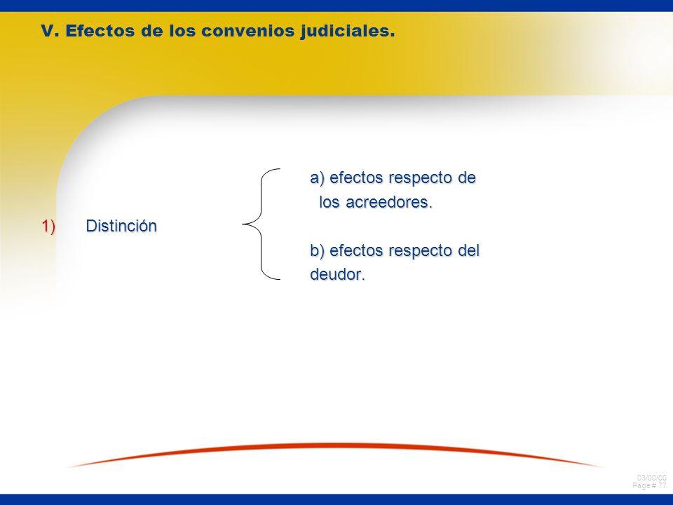 03/00/00 Page # 77 V. Efectos de los convenios judiciales. a) efectos respecto de a) efectos respecto de los acreedores. los acreedores. 1)Distinción