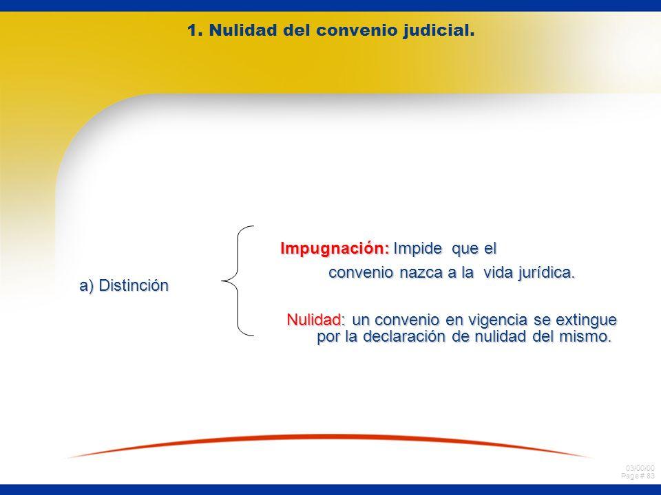 03/00/00 Page # 83 1. Nulidad del convenio judicial. a) Distinción Impugnación: Impide que el convenio nazca a la vida jurídica. Nulidad: un convenio