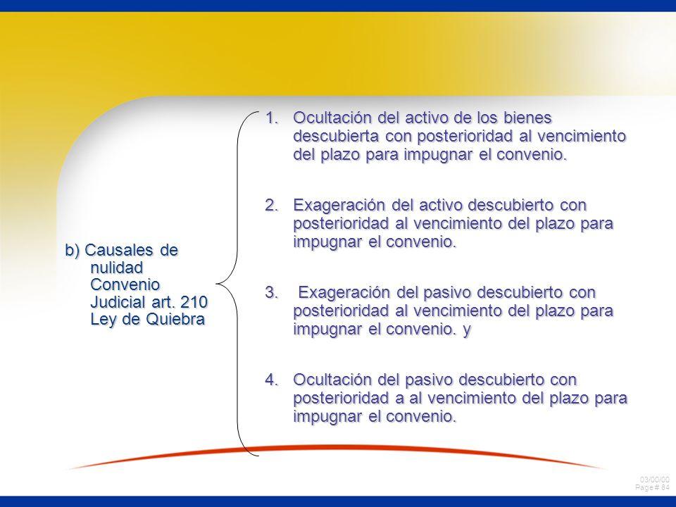 03/00/00 Page # 84 b) Causales de nulidad Convenio Judicial art. 210 Ley de Quiebra 1. Ocultación del activo de los bienes descubierta con posteriorid